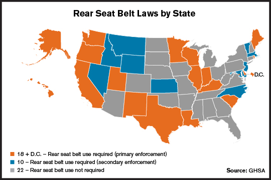 Rear Belt Laws by State