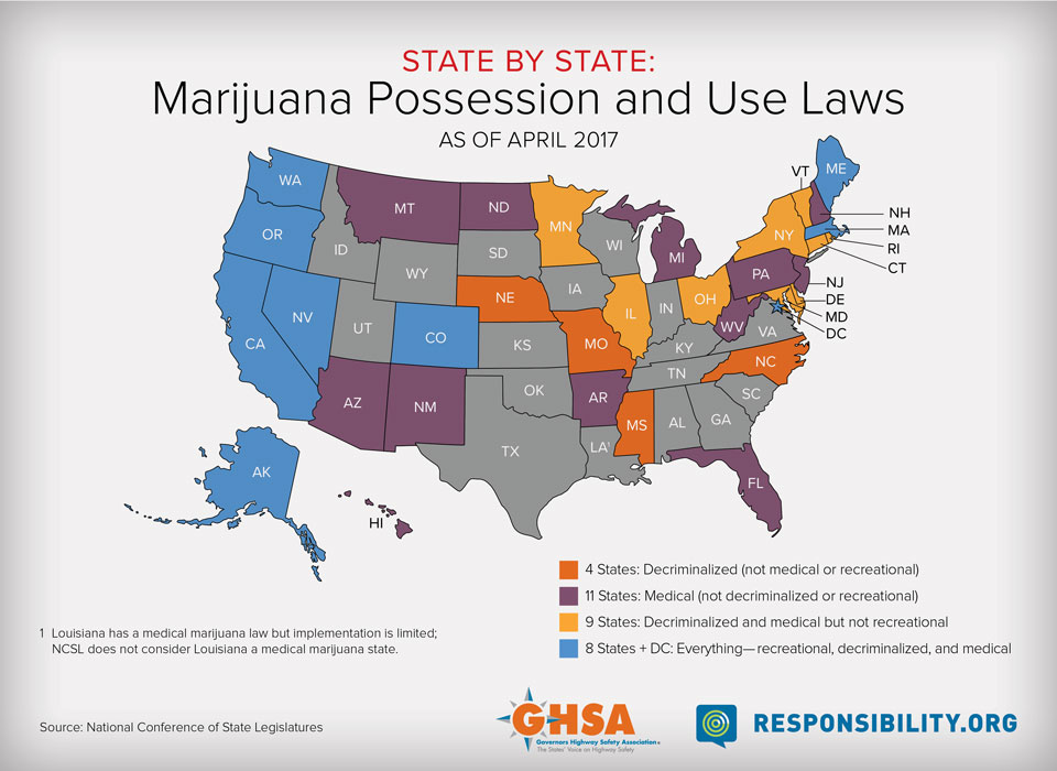 Drug Impaired Driving A Guide For States 2017 Update Ghsa - Us-marijuana-map-2017
