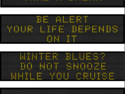 Drowsy driving message boards