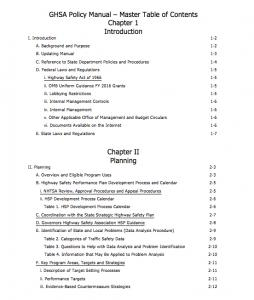 Policies and Procedures Manual table of contents