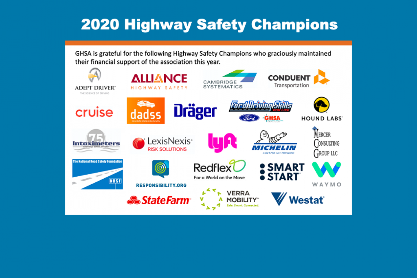 2020 Highway Safety Champions